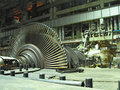 Steam turbine during repair, night scene Royalty Free Stock Photos