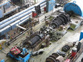 Steam turbine in repair process, machinery, pipes, tubes, at pow Royalty Free Stock Photo