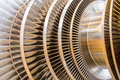Steam turbine rotor blades Royalty Free Stock Photo