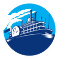 Steamboat ferry passenger ship retro illustration of vessel sailing set inside circle done in style Stock Image