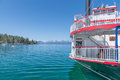 Steamboat lake tahoe historic touristic docked on the shores of under a bright blue sky Royalty Free Stock Photos