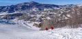 Steamboat springs ski area descending into base of colorado Stock Photo