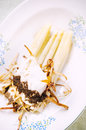 Steamed asparagus dish white with poached eggs and white truffle Royalty Free Stock Image