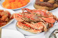 Steamed crab  close up on plate  and food many in home party Royalty Free Stock Photo