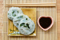 Steamed dumpling stuffed with garlic chives chinese chives served sweet black sauce Royalty Free Stock Photography