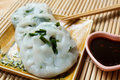 Steamed dumpling stuffed with garlic chives chinese chives served sweet black sauce Stock Photos