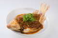 Steamed fish with chili soy sauce Royalty Free Stock Image