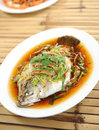 Steamed fish chinese style Stock Photo