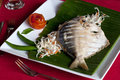 Steamed fish in kerala india banana leaf style Royalty Free Stock Photo