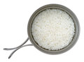 Steamed rice in a camping titanium pot Royalty Free Stock Image