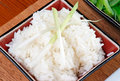 Steamed rice, spring onion dressing Stock Photography