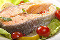 Steamed salmon steak Royalty Free Stock Images