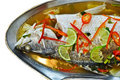 Steamed snapper fish with lemon Royalty Free Stock Photography