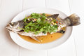 Steamed snapper fish with lemon spicy food Royalty Free Stock Photos