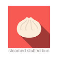 Steamed Stuffed Bun Chinese food flat icon design Royalty Free Stock Photo