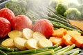 Steamed vegetables many kinds of grilled Royalty Free Stock Photography