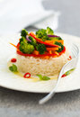 Steamed vegetables with rice on the plate Royalty Free Stock Photography