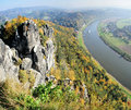 Steamer in the upper elbe valley in saxony view from bastei saxon switzerland germany on colorful deciduous forests on a of saxon Royalty Free Stock Image