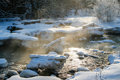 Steaming River on a Cold Winter Day Stock Photography