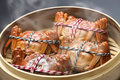 Steaming shanghai hairy crabs chinese cuisine in bamboo steamer Royalty Free Stock Photography