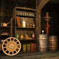 Steampunk basement old with tools and objects Stock Photo