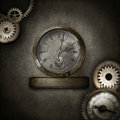 Steampunk border with heart in glass dome Royalty Free Stock Photo