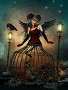Steampunk cage lady d computer graphics of a woman with a fantasy skirt dark wings and a feathered headdress Royalty Free Stock Image
