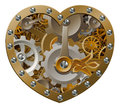 Steampunk clockwork heart concept with a shape made of cogs and gears Royalty Free Stock Photography
