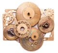 Steampunk device details isolated on white mechanical clocks details gears as a fantasy Royalty Free Stock Images