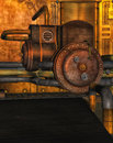 Steampunk factory a with machines Royalty Free Stock Photography