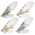 Steampunk faerie wings four variations of themed Stock Image