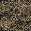 Steampunk gear collection with rust texture seamless pattern