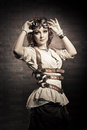 Steampunk girl with goggles. Old-fashioned. Royalty Free Stock Photo
