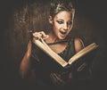 Steampunk girl reading book