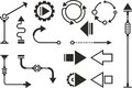 Steampunk graphic objects set of pointers simple arrows infographic Royalty Free Stock Images