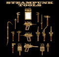Steampunk hand tools Royalty Free Stock Photo