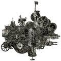Steampunk Industriële Geïsoleerde Productiemachine