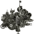 Steampunk industrial manufacturing machine isolated a funky and whimsical or motor the fantasy device could be found in an factory Stock Images