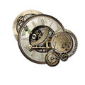 Steampunk jumble isolated jumbled selection of gears cogs clockwork in style on white background Stock Image
