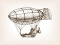 Steampunk mechanical flying airship sketch vector