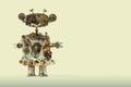 Steampunk mechanical robot. Aged gears, cog wheel hand clock parts mechanism. Shabby grunge scratch metal texture. Fun