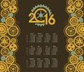 Steampunk mechanism calendar 2016 Royalty Free Stock Photo