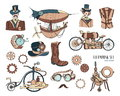 Steampunk objects and mechanism collection: machine, clothing, people and gears. Hand drawn vintage style illustration