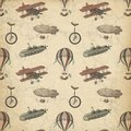 Steampunk Patterned Paper - Airships - Planes - Unicycle - Whimsical Steampunk - Vintage Royalty Free Stock Photo