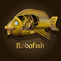 Steampunk robot fish decorative element for your design Royalty Free Stock Photo