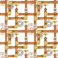 Steampunk seamless pattern with pipes, ventil, valve, gears.