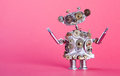 Steampunk service robot concept. Repair man with drivers. Aged gears, cog wheel hand clock parts mechanism. Shabby