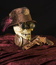 Steampunk skull with goggles Stock Photo