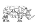 Steampunk style rhinoceros coloring book vector Royalty Free Stock Photo