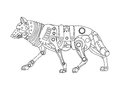 Steampunk style wolf coloring book vector